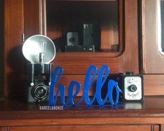 Hello Sign, Metal Hello Sign, Tabletop Decor, Entryway Decor, Foyer Tabel, Welcome Sign, Reception Desk, Foyer Decor, Entryway