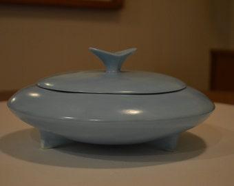 Handmade Mid Century Teal Ceramic Lidded Bowl