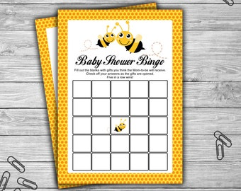 Bumble Bee - Baby Shower - Bingo - Game - Cards - PRINTABLE - INSTANT DOWNLOAD - Baby Bee Game - 070