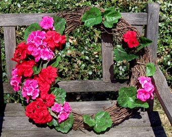 "Grapevine Wreath, Door Wreath, with Red and Pink Geraniums.  18""wreath, about 20"" finished.  Front door wreath, wall decor, gift."