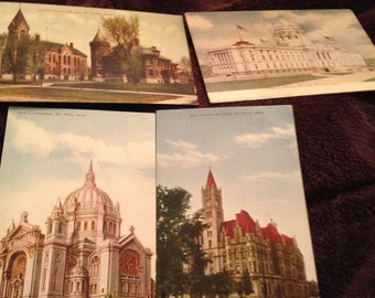 Four stunning vintage old St. Paul Minnesota post cards from 1910s