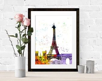 Watercolour Paris Print