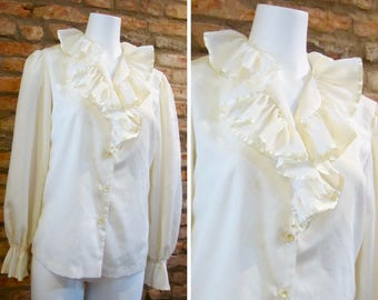 Vintage Blouse • 60s Blouse • Vintage Ruffle Blouse • Medium Alice Stuart • White Ruffle Top • Ruffle Sleeve Blouse • Ruffle Front 60s Top