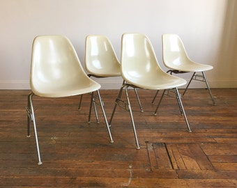 SOLD - Herman Miller Eames Shell Chairs in Parchment