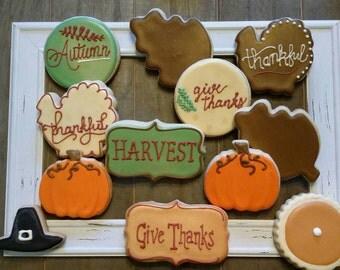 Thanksgiving Turkey, Pumpkin Pie and Leaf cookies
