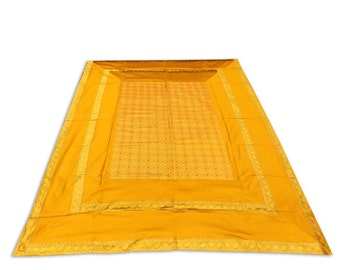 Indian Silk Brocade Design Golden Color Double Bed Cover 260x240 CM