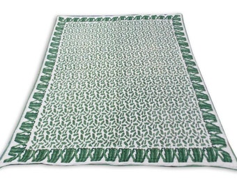 Double Bed Hand Block Printed Green Color Quilt in Abstract Design Size 90x108 Inch