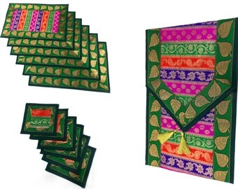 Green Color Indian Handmade Silk Brocade Table Runner with Placemat 6 and Coaster 6 in 16x62 Inch Size
