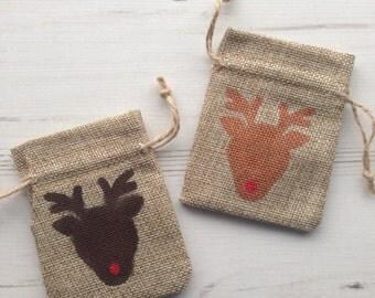 Reindeer mini gift bag hessian jute burlap. Tiny gift bag. small santa sack. filler stuffer. Money bag. Rudolf the red nose reindeer