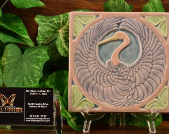 Rookwood Pottery Tile, 1922 Crane Trivet Tile #2047