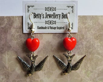 Antique Silver Plated Swallow Bird and Red Heart Earrings Pretty Bird Jewellery Rockabilly Retro Quirky