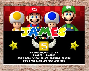 Super Mario Bros Birthday Invitation | Super Mario Brothers | Super Mario Brothers Party Invitation | Super Mario Bros Birthday Invitation