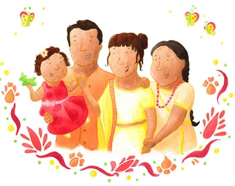 Custom Portrait Illustration, Family Portrait Illustration, Group Portrait Illustration, A4 Print