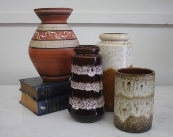 Set of 4 Vintage Retro Mid Century West German Pottery, Vase Fat Lava Glaze