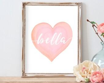 Nursery Art Girl, Personalized Watercolor Heart Art, Personalized Baby Gift, Blush Pink Nursery Art, Nursery Name Art, Pastel Nursery Art