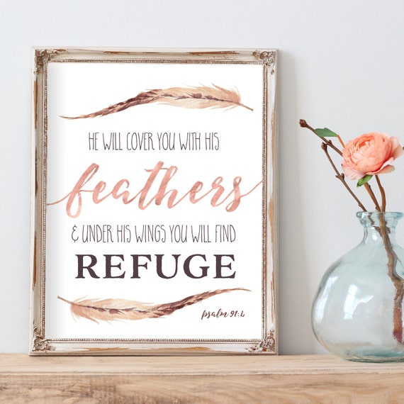 Nursery Wall Art, Bible Verse, Printable Bible Verse, Feather Art, Blush Nursery, Rose Gold, Scripture Art, Feather Quote Print, Psalm 91