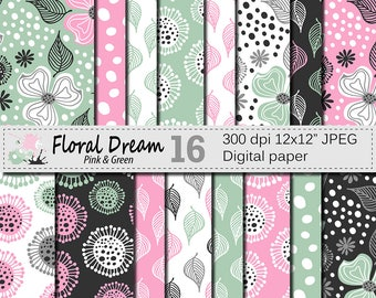 "Seamless Floral Pink and Green Digital Paper ""Floral Dream"", Hand Drawn Flowers Seamless Pattern, Printable Scrapbook Paper"