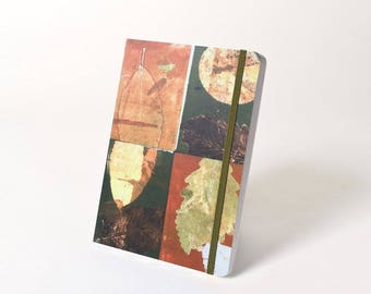 """Blank Hardcover Journal with Wrap Elastic Closure, """"Four Leaves"""""""