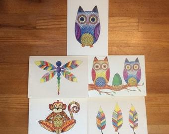 Set of 5 different Greeting cards, 5 by 7