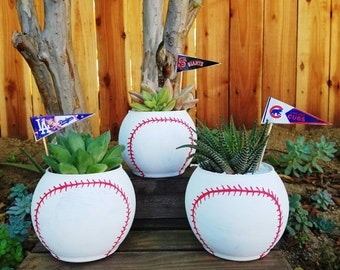 Hand painted  baseball fans planter bowl  pot  with your favorite team flag! Comes with succulent or cactus