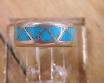 Sterling Silver Turquoise Inlay Band Ring Size 5.5