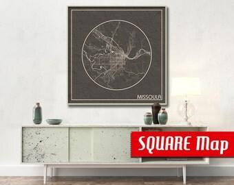 MISSOULA MT SQUARE Map Missoula Montana Poster City Map Missoula Montana Art Print Missoula Montana poster Missoula Montana map