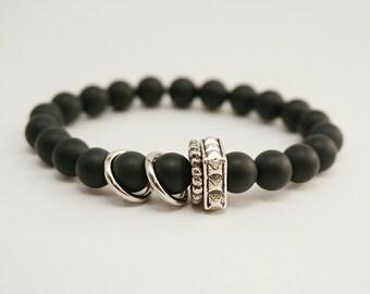 Onyx Bracelet, Black Charm Bracelet, Gifts under 20, Gemstone Bracelet, Stacking Yoga Bracelet, Mens Bracelet, Calming bracelet, Mala beads