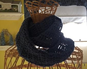 Blue wool infinity scarf