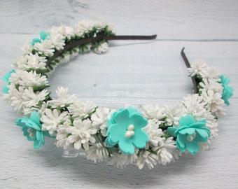 Bridal crown flower Headpiece white Flower hair wreath White bridal crown Bridesmaid rustic Woodland crown Baby flower crown Boho bride
