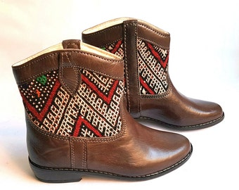 Vintage kilim & Brown Leather short Boots  US7,5  EU38  UK5