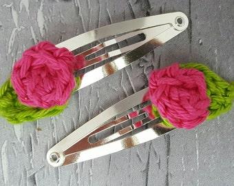 Rosebud hair clips, crochet rose hair snaps, cute hair clips, bright hair clips, fun hair snaps, flower hair clips,