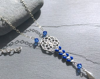 Necklace chain and rose in Silver 925 with ears and Blue Crystal chain