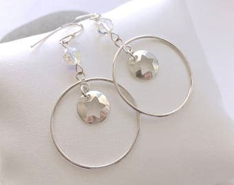 Earrings Silver 925 round pendant with star and Swarovski Crystal