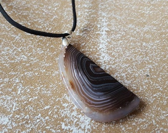 Agate Necklaces Pendants, white gold 18KGP clasp, suede band boho chic