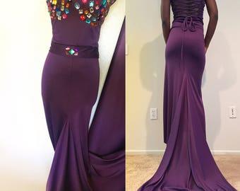 Purple multicolored gem drawstring back dress