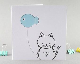 Birthday Card, Cat Birthday Card, Cat Card, Cat and Fish Balloon Card, Cat and Balloon Card