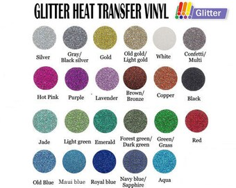 """5 of 12"""" x 20"""" Glitter Heat Transfer Vinyl - 23 Colors Available"""