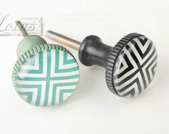 Antique Stripe Knobs Drawer Knob Dresser Knobs Ceramic Knobs / Kitchen Cabinet Knobs Pull Handle Decorative Furniture Hardware