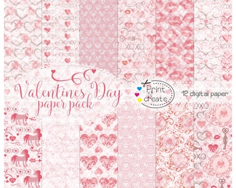 Paper pack Valentine's Day, Valentines Day paper pack, Red paper, Pink paper pack, scrapbooking paper, digi paper, digital paper heart, SALE