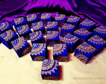 New! Set of 25 Bollywood Glam Wooden Favor Boxes! Customization Options Available for Event Color Co-ordination!
