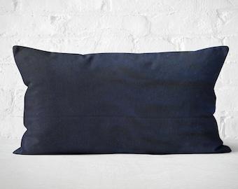 Navy Blue Pillow Covers, Lumbar Pillow, Silk Velvet Cushion Cover, Lumbar Cushion, Couch Pillow