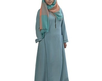 Hayaa ~  ARCTIC GREEN Casual Abaya Princess Cut Long Dress With Piping Details Islamic Clothing M L XL 2XL