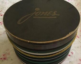 """Vintage Round Hat Box - Marked """"jones"""""""