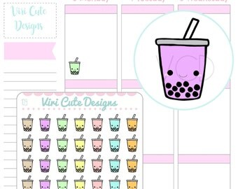 Kawaii Bubble Tea Stickers, Boba Stickers, Hand drawn Stickers, Bubble tea Stickers , Kawaii stickers, Kawaii  Planner Stickers | 109