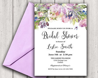 Floral Bridal Shower Invitation Purple Bridal Shower Invite, Flower Bridal Shower Invitation, Watercolor Bridal Shower Invitation, Boho chic