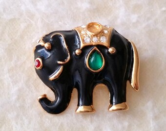 Vintage Gold Tone Black Enamel Elephant Stylized Pin Brooch