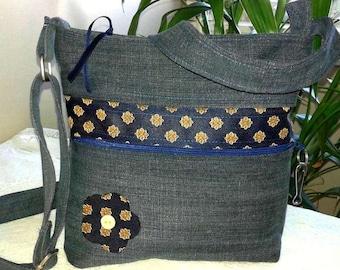 Bag denim with adjustable shoulder strap & outer zippered pocket