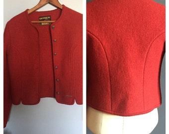 GEIGER TYROL Jacket . Boiled wool coat . Sz 38 .Red coat