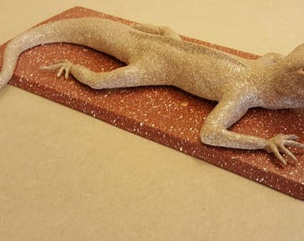 hand sculpted clay lizard 34cm unique and original