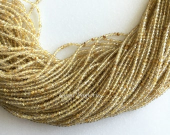 "Golden Rutile Beads, Micro Faceted Round Beads, Size 2.5 mm, 13"" Strand. Super Fine Quality. Price per Strand"